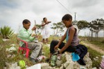 Children with recyclables in the production of Eco-Bricks